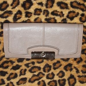 EUC Coach Taupe Grey Embossed Leather Wallet